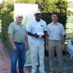 Alan Broadhurst, Old Mutual Left, Godfrey Masawi, centre & Gary Hughes, Old Mutual, right.